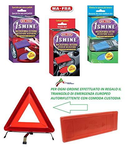 Autoforniture Italia - Juego de paños de microfibra 1Shine Mastra para exteriores, interiores y cristales. Regalo triángulo de emergencia europeo.