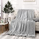 Beglad Super Soft Shaggy Throw Blankets, Cozy Long Plush Fuzzy Faux Fur Bed Throw, Fluffy Luxury Sherpa Fleece Blanket for Bedroom Living Room, 50x60 inch, Silver Grey