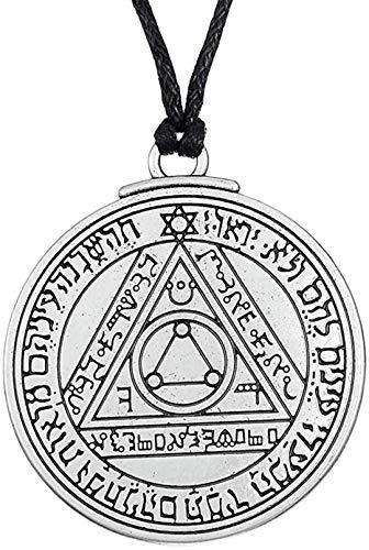 Asdf Colar com pingente de talismã Sun Pentacle Talisman para moda unissex pode ser usado como uma combinação, simples e generoso, estilo simples