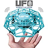 KIDCHEER Hand Operated Drones Mini UFO Flying Toys for Kids with 360° Rotating and Shinning LED Lights Hand-Controlled Flying Ball Toys for Boys or Girls - Blue