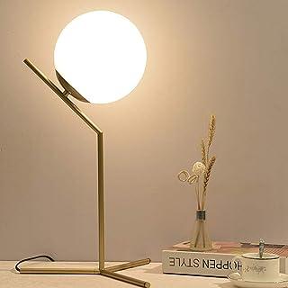 Lámpara de mesa esférica de oro Estilo simple Salón Dormitorio Mesita de noche Lámpara de mesa Artículos para el hogar Lámpara de mesa clásica con pantalla de tela