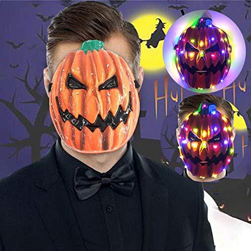 XWYWP Máscara de Halloween fantasma calabaza máscaras Halloween fiesta suministros LED resplandeciente apoyos cuatro colores Riivet máscara caliente divertido miedo juguete C