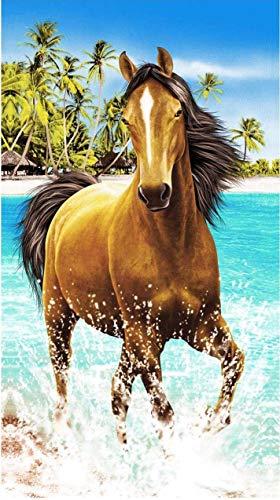 Strandtuch _ 100,1x 180,1cm Extra große Mikrofaser-Handtuch für Bad Strandkorbhülle Delfinen schwimmen bedruckt pferd