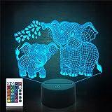 Éléphant 3D veilleuse pour enfants Lampe 3D avec 16 couleurs changeantes télécommande jouets éléphant 10 9 3 5 2 8 1 7 6 4 ans filles femmes bébé garçons Gif