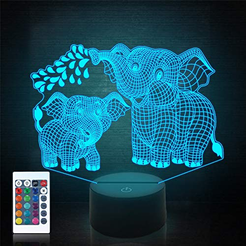 Elephant 3D Night Light, Animal Illusion Bedside Lamp with Remote Control 16 Colors Changing Bedroom Decor Idea Creative Birthday Halloween Christmas Gift for Kids Boys Girls