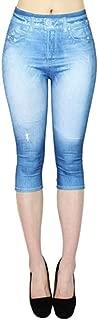 PEIZH Women Cotton Straight Leg Pants Pull-On Distressed Denim Joggers Elastic Waist Stretch Pants
