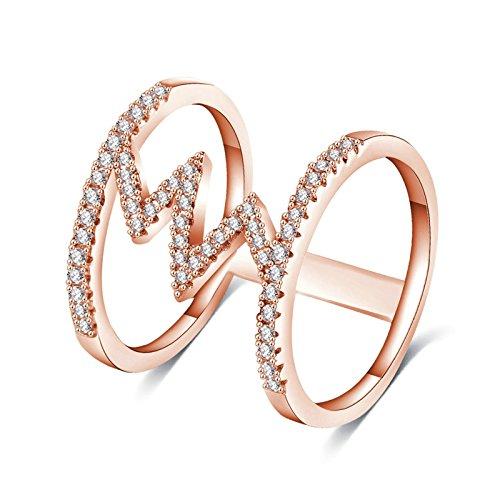 Bishilin Vergoldet Ringe Frauen Doppelreihen mit Blitz Weiß Zirkonia Hochzeitsring Paarringe Rosegold Größe 52 (16.6)