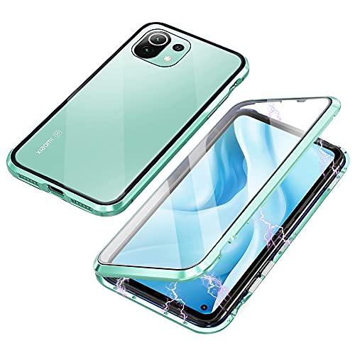 Funda Compatible con Xiaomi Mi 11 Lite, Carcasa Absorción Magnética con Armario Diseño, Aluminio Bumper Transparente Vidrio Templado Case Anti-Arañazos 360 Grados Cover,Verde
