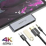 AGPTEK 4 EN 1 Hub USB C para iPad Pro 2018, Adaptador USB C a HDMI 4K, Auriculares de 3.5 mm, Carga PD, Compatible con Macbook, DELL XPS, Samsung S8/S9/Note8 y Más Dispositivos de Tipo C, Gris