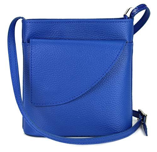 Belli ital. Ledertasche Damen Umhängetasche Handtasche Schultertasche mit zusätzlichem Klappfach in royalblau - 18,5x18,5x7cm (B x H x T)
