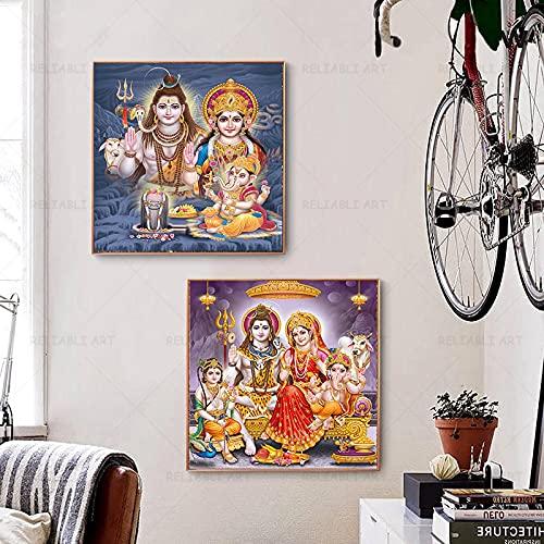 Lord Ganesha Laxmi Saraswati Pintura Sobre Lienzo Impresiones Dios Ganesha PóSter Arte De La Pared Imagen Decoraciones Para El Hogar Cuadros 80x80cmx2 Sin Marco