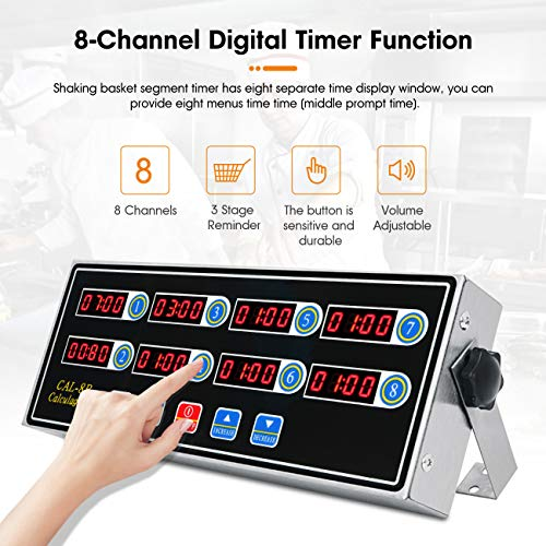 BEAMNOVA 8 Channel Digital Kitchen Timer Clock Reminder Cooking Commercial Loud Ring Alarm Stainless Steel Timers Calculagraph