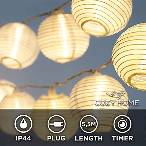 LED Lampion Lichterkette außen mit Timer - 5,5 Meter | Mit Netzstecker NICHT batterie-betrieben | auch für Innen | 15 LEDs warm-weiß | Kein lästiges austauschen der Batterien | CozyHome LED Lampions