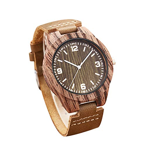 COAO Women's Creative Wooden Watch Retro Classic Style Wood Grain Dial with Carved Pattern with Imitation Wooden Adjustable Strap Quartz Movement for Formal Business Birthday Gifts