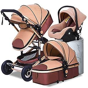 Babyfond Cochecito de bebe 3 en 1, Silla de paseo para bebé, sistema de viaje, Cochecito plegado, ligero 3 in1 con Silla de coche, desde el nacimiento hasta 3 años (Caqui)