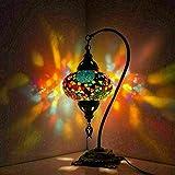 Lámpara de mesa de mosaico turco, impresionante estilo marroquí, pantalla de globo único, serie de cuello de cisne (Brave)