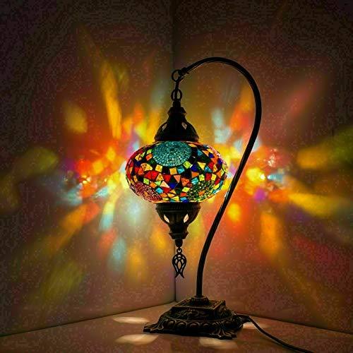 Türkische Mosaik-Tischlampe, atemberaubender marokkanischer Stil, einzigartiger Globus-Lampenschirm, Schwanenhals-Reihe (mutig)