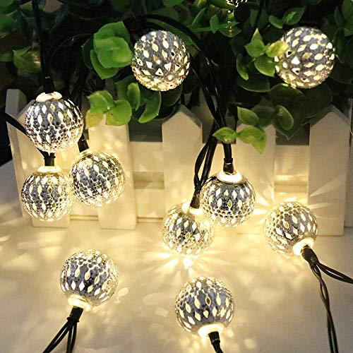 EONANT Solar Outdoor Metall Lichtkette, 15.7FT 20LED Metall warmweiß Licht Dekoration Lampe String Orientalische Atmosphäre, in festlichen Schlafzimmer Hochzeitsgarten verwendet (Marokkanischer Ball)