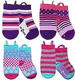 Ez Sox - Mädchen Socken, Easy Pull -Schleifen, 1-3 Jahre, Pink und Purple Polkadots/Stripes