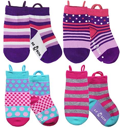 Ez Sox - Mädchen Socken, Easy Pull -Schleifen, 3-5 Jahre, Pink & Purple Polkadots/Stripes