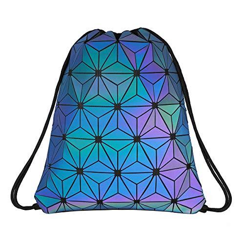 Segorts Geometrisch Leuchtend Rucksack Damen Schultaschen Holographisch Reflektierend Rucksäcke Reisen Freizeit Kordelzug Daypack Schulrucksäcke Tasche Schulranzen für Mädchen Frauen Männer