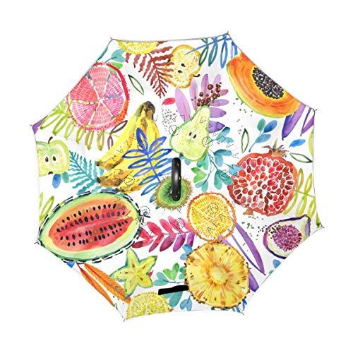Rode paraplu voor zomervruchten, watermeloen, ananas, banaan, omkeerbaar, parasol, regen, voor auto, gebruik buitenshuis met C-handgreep