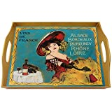 Wine and cheese gift - Wines of France Burgundy Alsace Bordeaux Loire - Rectangular Hand Painted Glass Tray with Gold Aluminium Frame