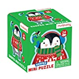 """Mudpuppy Winter Penguin Shaped Mini Puzzle, 24 Pieces, 6"""" x 6"""" - Die-Cut Jigsaw Puzzle Featuring a Colorful Illustration of a Funny Penguin - Makes a Great Gift Idea, Multicolor"""