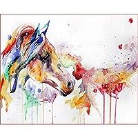 数字の装飾による着色大人のための額入りアクリル絵の具手作りDIYキットとキャンバス上の数字の馬による絵画