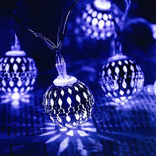 Luces solares al Aire Libre, Luces marroquíes solares, Luces Cadena Globo Metal a Prueba Agua 5m20LED Luces marroquíes al Aire Libre Luces Bola Patio, Fiestas, Patio