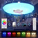Lámpara de Techo Bluetooth, Luz de Techo con Música, Control Remoto o de APP, LED Regulable, Lámpara de Música con Cambio de Color, 18W 180-265V Pantalla Starlight con diseño de corte de diamante