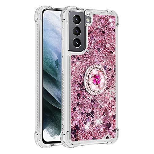 Carcasa para Samsung Galaxy S21 5G, brillante cristal diamante, soporte de teléfono líquido degradado, transparente, silicona TPU antigolpes, carcasa (oro rosa)