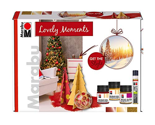 Marabu 1264000000083 - Home en Decoration kleuren in set, Lovely Moments, 2 x 50 ml Colorado Gold in goud en rood, 50 ml Vegas Glitter in goud, Glitter Liner in goud en penseel