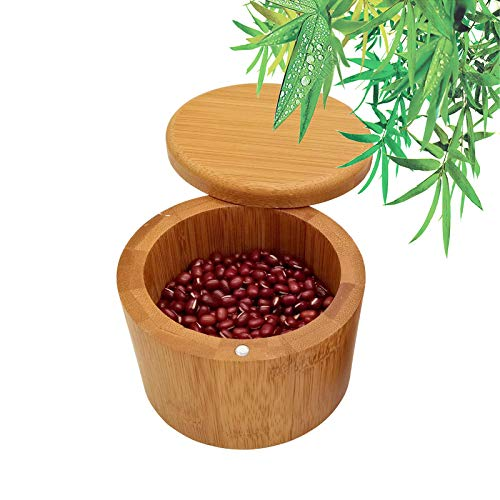 Salero Cocina de Bambú Caja, Caja Almacenamiento de Especias, Caja de Sal Bambú, Salero Cocina De Bambú, Natural Caja Almacenamiento Madera con Tapa Giratoria Magnética para Cocina (9x7cm)