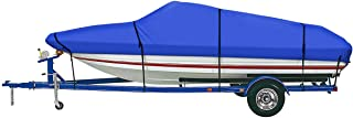 iCOVER Trailerable Boat Cover, 600D Heavy Duty Waterproof UV Resistant Marine Grade Polyester Fits V-Hull,TRI-Hull,Pro-Sty...