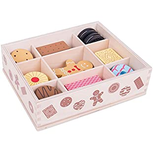 Bigjigs Toys Wooden Biscuit Box & Assorted Wooden Biscuits - Pretend Play and Role Play for Children:Comoparardefumar