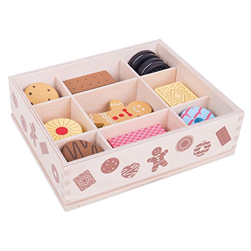 Bigjigs Toys Wooden Biscuit Box & Assorted Wooden Biscuits - Pretend Play and Role Play for Children