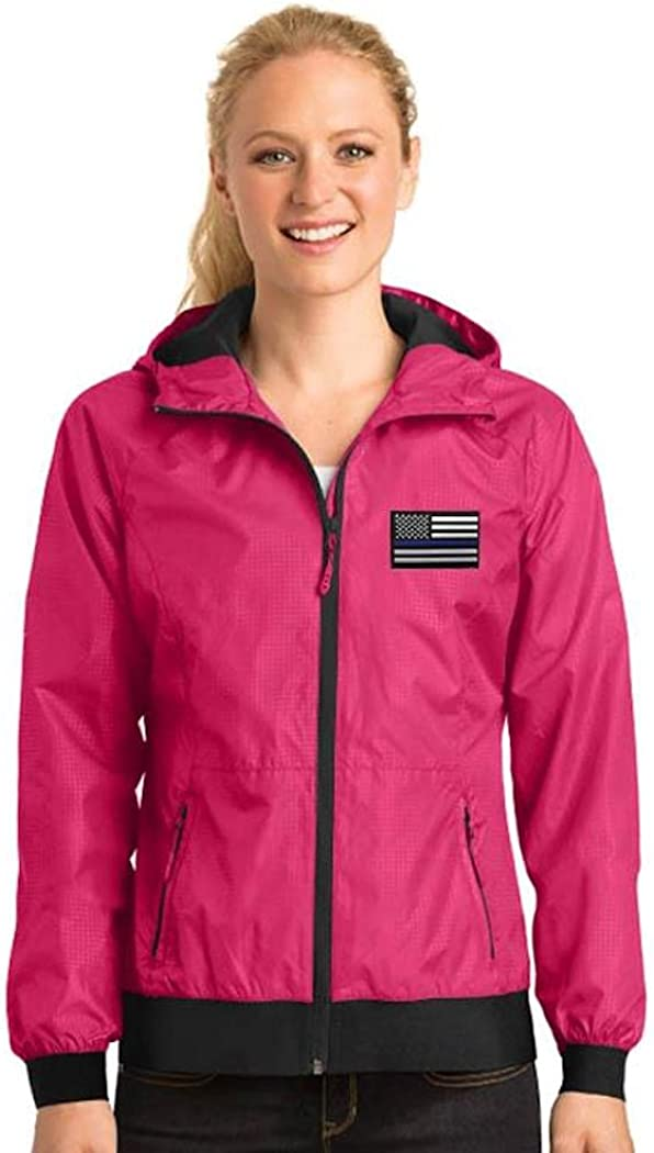 Women's Thin Blue Line Embossed Hooded Wind Jacket (Medium, Pink, one_size)