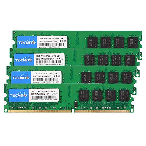 TECMIYO 8GB Kit (4X2GB) 2RX8 PC2-6400U DDR2 800MHZ DIMM PC2-6300 DDR2-800 UDIMM 1.8V CL6 240Pin Dual Rank Non-ECC ungepuffertes Desktop-RAM für Intel AMD System