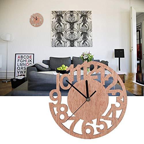Wandklok, moderne ronde wandkloksticker Hangende muurhorloge Home Room Office Decor - Kwaliteit is onze cultuur(Ronde houten boom met digitaal)