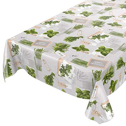 Tovaglia cerata, lavabile, di colore verde e beige, motivo: piante, taglia selezionabile, asciugamani, Kräuter Grün Beige Bio Basilikum, 100 x 140 cm