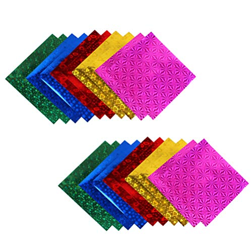 EXCEART 100pcs Colored Sparkly Paper Cardstock Paper Holographic Glitter Paper for DIY Projects Gift Box Wrapping Birthday Party Decor