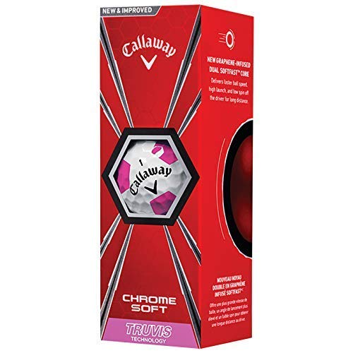 Callaway Chrom Weich Truvis Graphen Golfbälle (Weiß/Pink) - 1 Ärmel