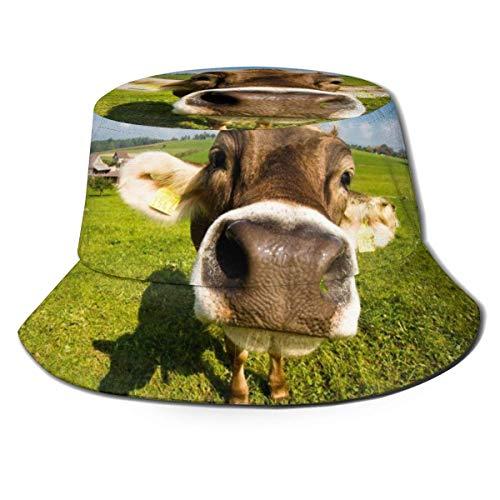 SDFRG Bucket Hat Wallpaper Vaca de Escritorio Unisex Packable Protección UV Gorra de Pesca de Verano al Aire Libre Sombrero para el Sol