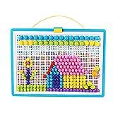 Juguetes De Uñas De Setas, Juguetes De Arte De Botón, Novedad Puzzle Mosaic Pegboard para 3 4 5 Años Niñas Niñas Niños
