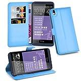 Cadorabo Hülle für HTC Desire 816 - Hülle in Pastel BLAU – Handyhülle mit Kartenfach & Standfunktion - Case Cover Schutzhülle Etui Tasche Book Klapp Style
