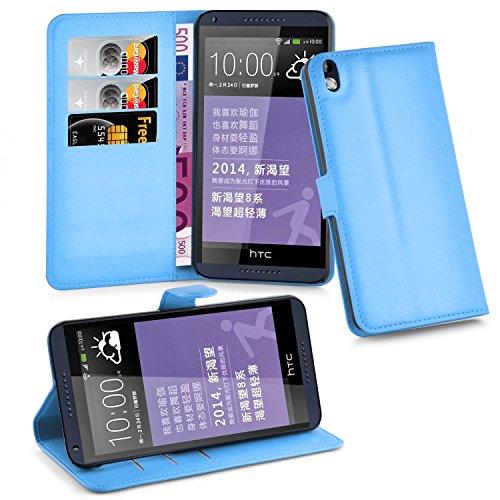 Cadorabo Hülle für HTC Desire 816 - Hülle in Pastel BLAU – Handyhülle mit Kartenfach & Standfunktion - Hülle Cover Schutzhülle Etui Tasche Book Klapp Style