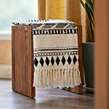 MOTINI 100% Cotton Decorative Blankets Cozy Knitted Throw Blanket, Modern Throw Blanket with Tassel for Sofa Chair Couch Bed, 50x60 Inches (Black&White)