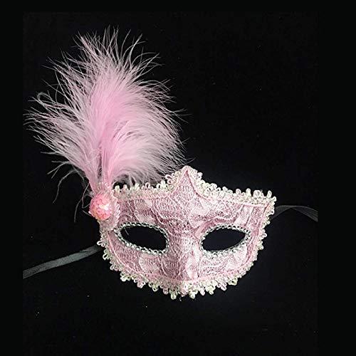 Hlwe Halloween Maske Party Cosplay Kostüm Feier,Venedig Maske Musikalische Karneval,Federball Prinzessin Beauty Strass Half Face Blind - Pink