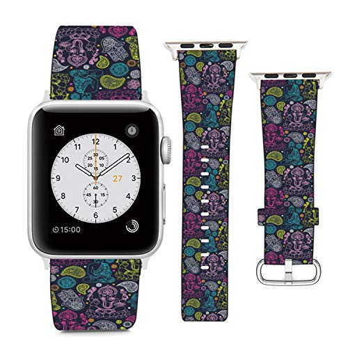 Compatible with Apple Watch Wristband 38mm 40mm, (Indian Buddha, Ganesha, Hamsa Pattern) PU Leather Band Replacement Strap for iWatch Series 5 4 3 2 1